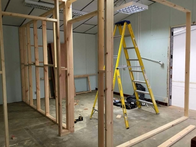 New partitions upstairs as we rearrange the office space